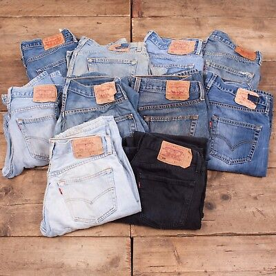 10x Pairs Grade B Wholesale Levis 501 Vintage Worn Denim Jeans Job Lot.