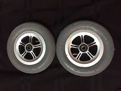 Pair of 6 X 1 1/4 Cheng Shin Wheelchair Front Caster Tires On Aluminum Wheel