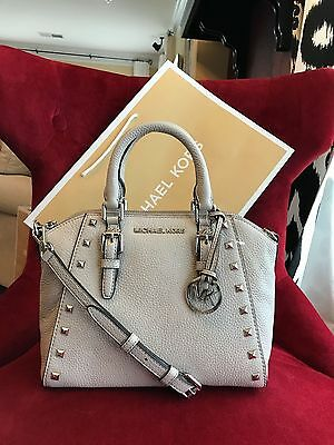 Nwt Michael Kors Pebbled Leather Ciara Studded Medium Messenger Bag In Cement