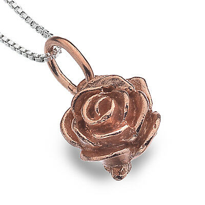 Beautiful Rose Gold-Plated Sterling Silver Rose Pendant (N211)