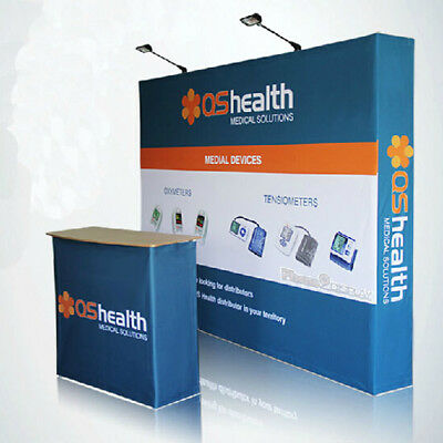 10ft Portable Custom Fabric TRADE SHOW DISPLAY Pop up banner Booth Backdrop wall