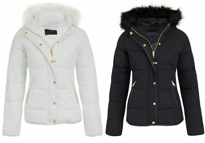 Womens Ladies Quilted Padded Puffer Fur Collar Hooded Parka Jacket Sizes 8-16