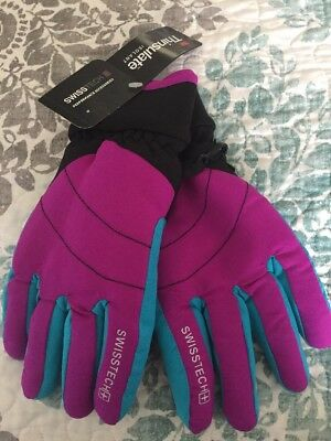 Swiss Tech 3M THINSULATE Girls Sparkling Orchid & Turquoise Ski Gloves NEW L-XL
