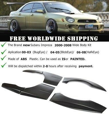 Subaru Impreza 2000-2008 WRX STI Style Wide Arch Body Kit Wheel Extensions 8 PCS