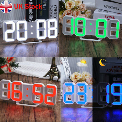 LED Digital Numbers Table Wall Clock Large Digit 3D Display Alarm Snooze Clock