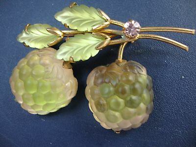Vintage Austria Frosted Double Glass Yellow/Pink Raspberry Brooch/Pin Gold Tone