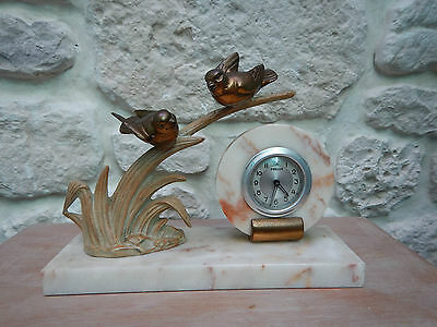 French Art deco clock birds marble