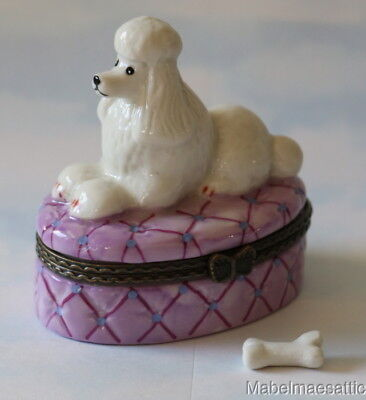 New Handpainted White Poodle Puppy Dog on Pillow Porcelain Hinged Trinket Box