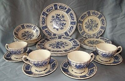20 Pieces Myott Staffordshire MELODY Blue Rose 4 Place Settings Plate Bowl Cup