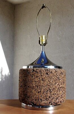 Vintage Mid Century Modern Cork Barrel Lamp with Chrome