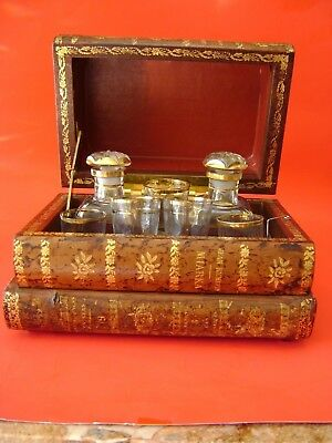 Antique Leather Bound French Tantalus