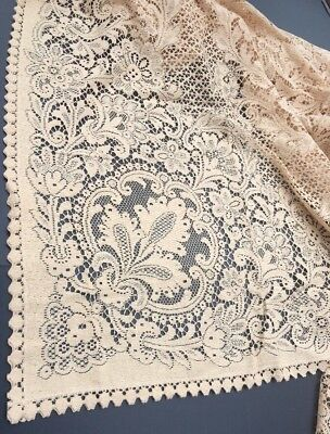 """Antique Vintage Lace Tablecloth Cream Natural 90""""X65"""" Intertwined Floral Pattern"""
