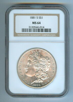 Ngc Graded 1881-S U.s. Morgan Silver Dollar - Ms 64