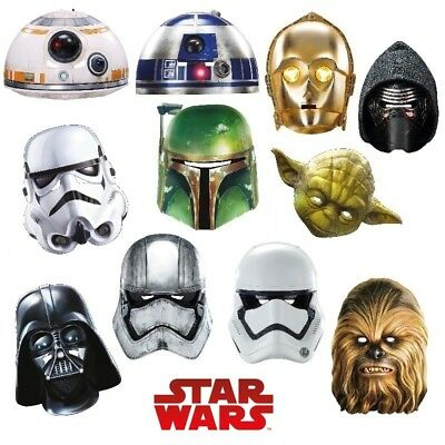 ♥ Party Maske Karton Star Wars Yoda Stormtrooper Darth Vader R2-D2 C3PO Kylo Ren