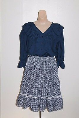 Malco Modes Navy Blue Top Blouse & Plaid Square Dance Skirt Women M L