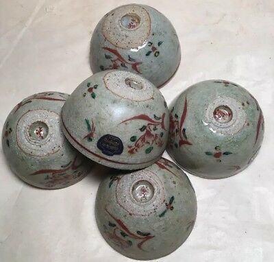Vintage Hand Made In Japan Sake/Tea Raku Ceramic Cups 5 Cups