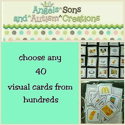 You Choose 40 Visual Cards / Pecs With Smooth / Loop - Autism / Non Verbal
