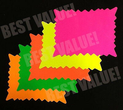 """5""""x 7"""" 100pk Fluorescent Neon Rectangle Star Burst Price Tags Signs Cards"""