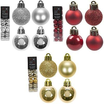 32 x 2.5cm Christmas Tree Mini Small Baubles Decoration Glitter Ornament 25mm