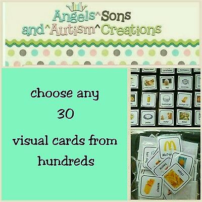You Choose 30 Visual Cards From Hundreds - Autism / Non Verbal / Visual Learner