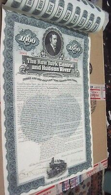 1897 NY CENTRAL & HUDSON RIVER RR 120 yr OLD CANCELED RAILROAD BOND CERTIFICATE