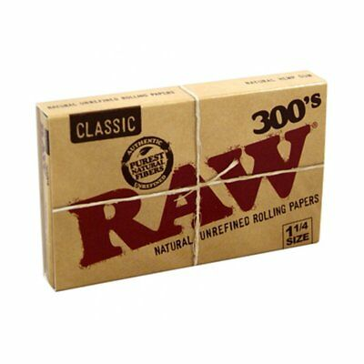 Raw 300's Unrefined Classic 1-1/4 Natural Cigarette Rolling Papers Qty 300