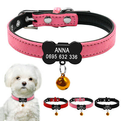 Customized Cat Dog Collars with Bell Bone Shape Dog Name ID Tag Free Engraving