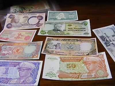 Lot of 9 uncirculated  AFRICA Banknotes, all diff...(Lot B).