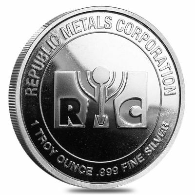 FIVE (5) 1 troy oz. Republic Metals Corp. RMC .999 Silver rounds, BU from tube