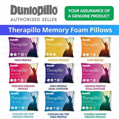 DUNLOPILLO Therapillo Memory Foam Pillows Low/Medium/High/Geltop/Dual Contour