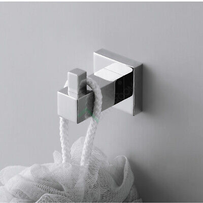 Hand Towel Hook Wall Mount Square Hanger Holder Chrome Stainless Steel Bathroom