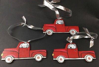 3 Hand painted Old  English Sheepdog in truck ornaments!