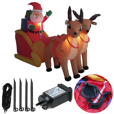 2.1M Waterproof Inflatable Double Deer Sled Christmas Santa Decoration W LED AU