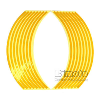 16Pcs 9mm Motorcycle Motorbike Car Reflective Sticker Rim Wheel Tape Trim Gold