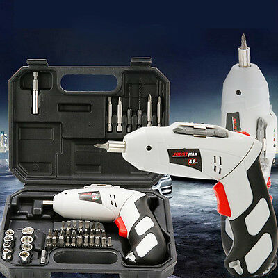 EU 45 Pcs 4.8v Rechargeable Cordless Reversible Electric Screwdriver Drills Kit