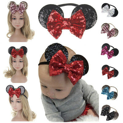 MINNIE MOUSE EARS Hair Headband Sparkle Shimmer Bowknot Sequins Baby Kid Girls