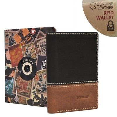 Portland Mens RFID Secure Trifold Soft Genuine Leather Slim Anti-Theft Wallet