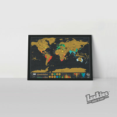 Scratch Map ® SMALL Deluxe Scratch off World Map by INVENTORS OF SCRATCH MAPS