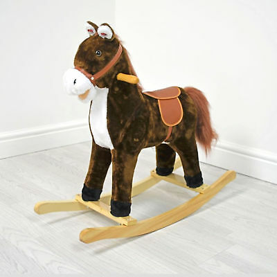 New 4Baby Medium Activity Rocking Horse Chestnut Brown With Sounds