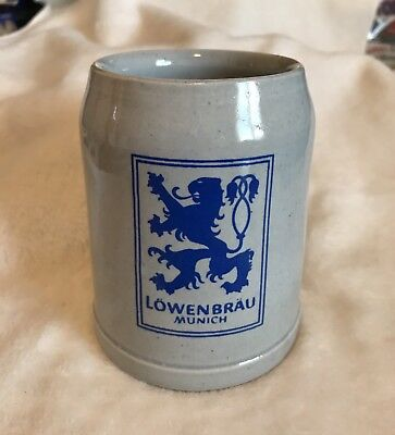 1 Large Vintage German Beer Mug .5 Liter Lowenbrau Germany Ceramic Stoneware