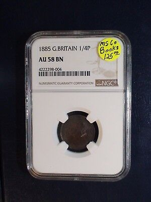 1885 Great Britain One Quarter Penny NGC AU58 BN 1/4P Coin PRICED TO SELL NOW!