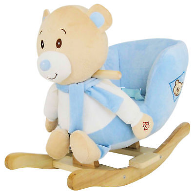 New 4Baby Blue Teddy Rocking Activity Toy With Sounds And Safety Harness