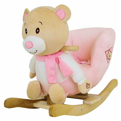 New 4Baby Pink Teddy Rocking Activity Toy With Sounds And Safety Harness