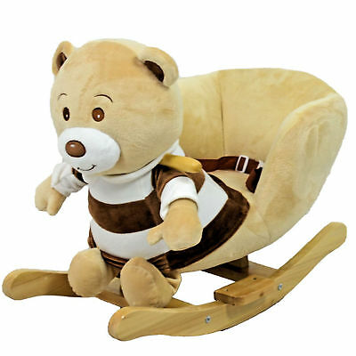 New 4Baby Beige Teddy Rocking Activity Toy With Sounds And Safety Harness