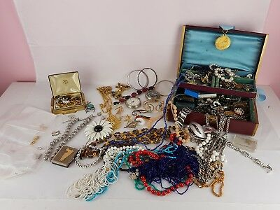 Vintage Costume jewelry Large loose mixed lot of hidden treasures