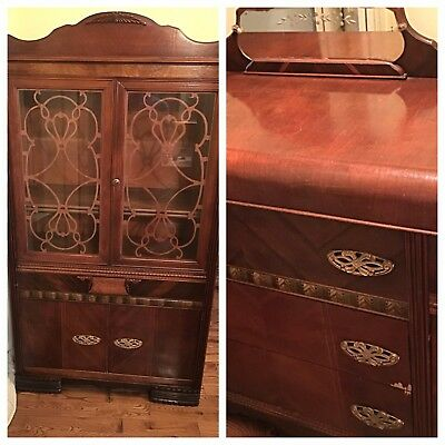 Vintage China Cabinet and Buffet Light Mahogany 1940's