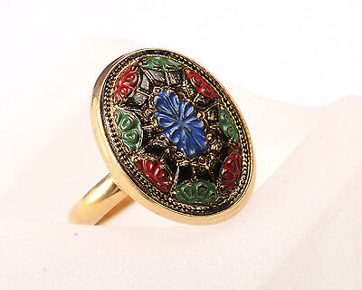 Sarah Coventry Ring, Gold Tone with Multi Coloured Enamel Top, Vintage 1970s