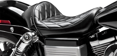 Le Pera LK-421 PT Pleated Stitch Vinyl Stubs Cafe Solo Seat 06-17 Harley Dyna