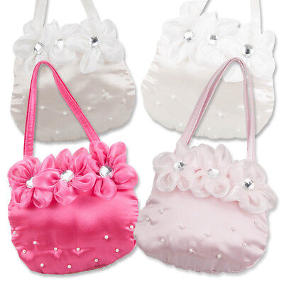 Girls Kids Little Lady Dress Up Handbag Evening Wedding Bag 3 Flower Crystals