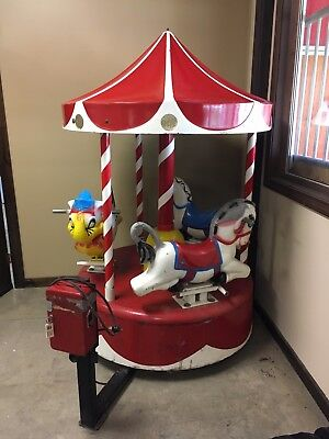 Vintage Coin Operated Kiddie Ride Carousel, Works with Music and 3 seats